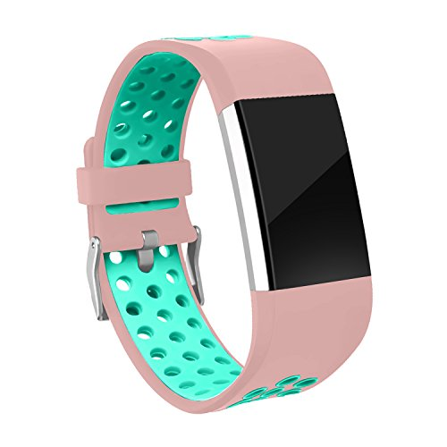 Fitbit Charge 2 Replacement Bands, RedTaro Bands for Fitbit Charge 2,Pink/Mint - And Green 13s Black