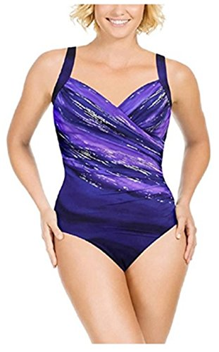 Kirkland Signature by Miraclesuit Womens 1 Piece All Over Body Control Swimsuit (8, Eggplant Glitterati)
