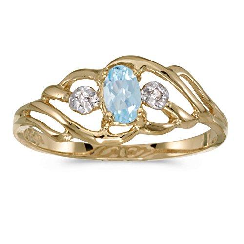 0.15 Carat ctw 14k Gold Oval Aqua Aquamarine & Diamond Fashion Swirl Cocktail Ring - Yellow-gold, Size 5.5 ()