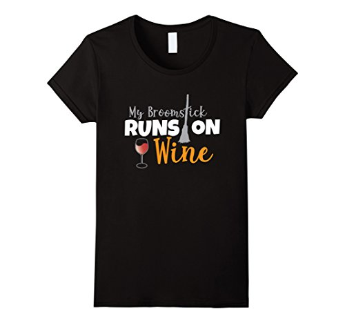 Womens My Broomstick Runs On Wine T-Shirt Halloween Witch Costume Large (On The Run Halloween Costume)