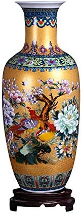 ufengke Jingdezhen Large Ceramic Floor Vase,Flower Vase Handmade Home Decorative Vase,Height 18.11 46cm ,Golden