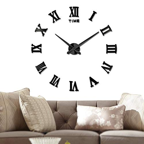 Vangold Large 3D DIY Wall Clock, 2-Year Warranty Roman Numerals Clock Frameless Mirror Surface Wall Sticker Home Decor for Living Room Bedroom (Diy Clock)