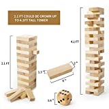Giant Tumbling Timber (Stacks up to 4 Feet), Gentle Monster Large Size Wooden Timber Tower, Classic Outdoor Games for Adult Kids Family, Jumbo Blocks Lawn Games 56 Pcs with Dice & Rules