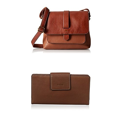 Fossil Kinley Small Crossbody with Emma Tab Wallet Rfid, Brown by Fossil