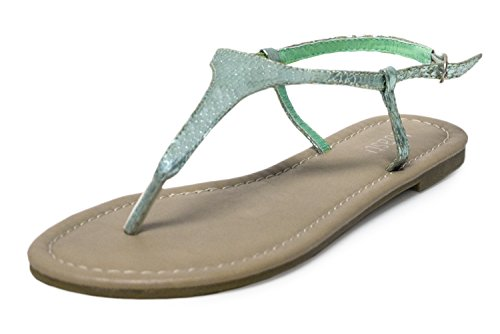 Comfy Sandals for Women, H2K 'CLASSIC' Women's Beach Summer Snake Skin Patterned Flip Flops [Thong Sandals] Comfy Slip-On Sandals Flat Slippers Shoes with Adjustable Ankle Strap, Metallic Mint Green Size (Snakeskin Thong Sandals)