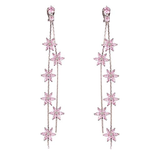 Grace Jun Women's Platinum Plated CZ Double Tassel 6 Flower Drop Earrings and Clip on Earrings No Pierced (Pink Platinum Plated Clip-on)