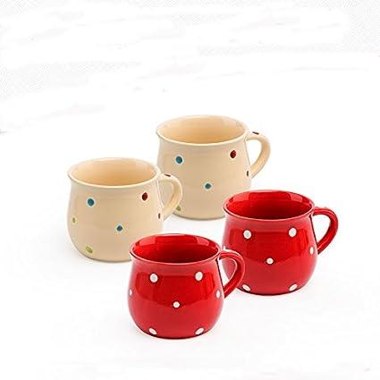 Taza de cerámica encantadora del punto de la onda, taza grande de la capacidad,