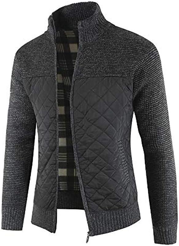 CaoGSH Zip Up Men Sweater Jacke Stehkragen Strickpullover Mantel Herbst Männer Kleidung Vintage Strickoberteile Patchwork Sweater Cardigan_Red_Size_M: Odzież