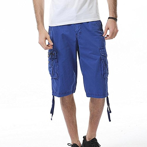 - PASATO Men's Casual Pure Color Outdoors Pocket Beach Work Trouser Cargo Shorts Pant(Blue, 36)