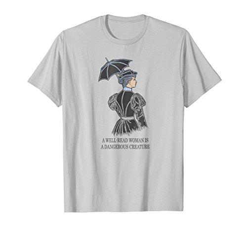 Mens A Well Read Woman Is A Dangerous Creature Literature T-Shirt 2XL Silver ()