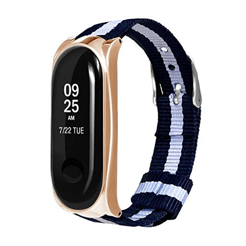 OutTop(TM) Replacement Luxury Elegant Nylon Metal Wristband Sport Strap Watch Band Xiaomi Mi Band 3 (Gold)