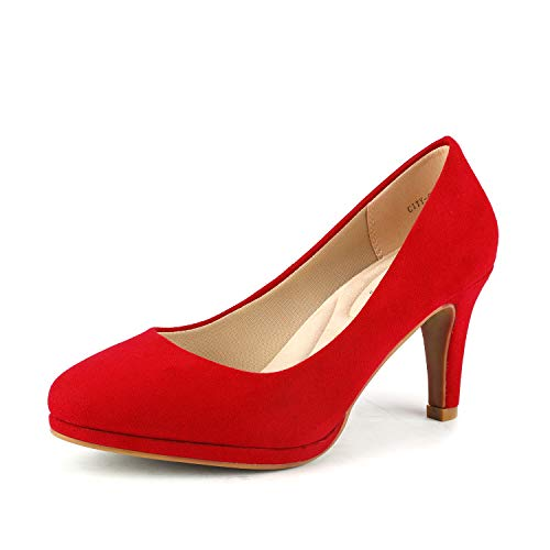 DREAM PAIRS Women's City_CT RED New Classic Elegant Low Kitten Heel Party Dress Pumps Shoes Size 10 B(M) US for $<!--$28.99-->