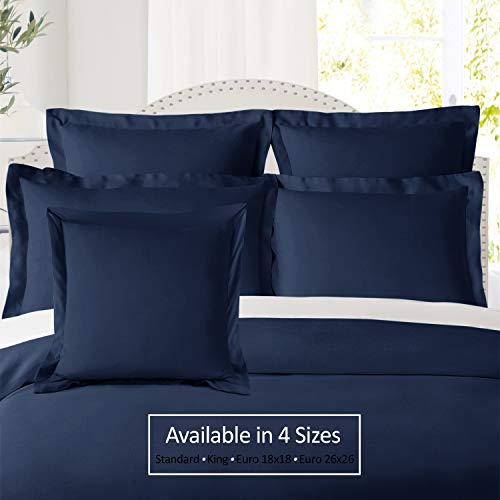 "Nestl Soft Pillow Shams Set of 2 - Double Brushed Microfiber Hypoallergenic Pillow Covers - Hotel Style Premium Bed Pillow Cases, Euro 18""x18"" - Navy"