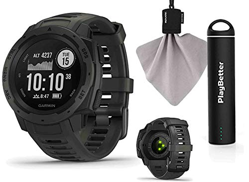 Garmin Instinct (Graphite) Outdoor GPS Watch Power Bundle | with PlayBetter Portable Charger & SPUDZ Retractable Microfiber Towel | Rugged GPS Watch | Heart Rate