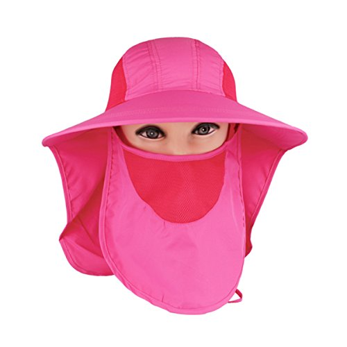 (Panegy Women Outdoor Wide Brim hat Cycling Fishing Anti-UV Flap Cap with Removable Sun Shield Mask - Rose Red)