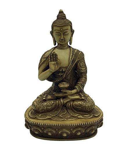 Large Handmade Resin Tibetan Buddha Statue in Earth Touching Pose, Pure Antique Finish 8.5 Inches Tall. Blessing Buddha.