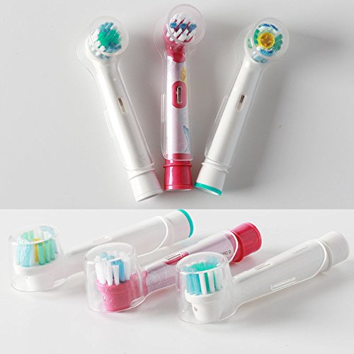 MAZIMARK--4pcs Toothbrush Electric Head Protective Cover Suit Oral B Dust Clear Cover (Clear Apc Diamond)