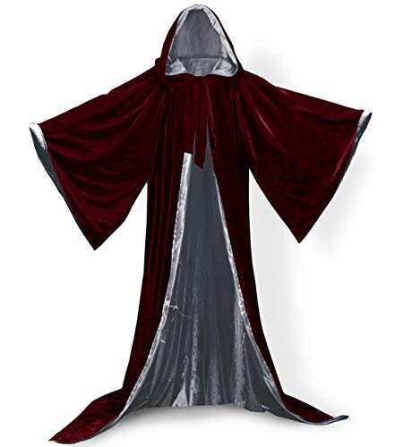 Qianruidia Unisex Full Length Hooded Cloak Adult Velvet Cape Halloween Party Cosplay Costume Cloak