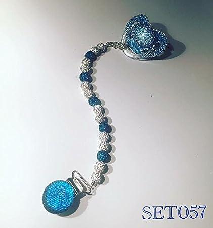 Baby Luxus Strass Chupete y cadena, bebé azul, especiales ...