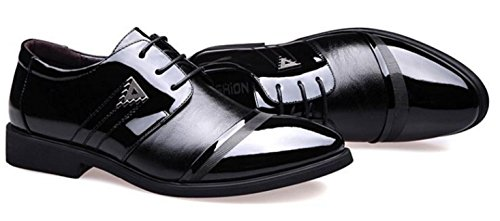 HYLM Men's Business Zapatos de cuero Pointed Lace zapatos de boda de gran tamaño Oxford Casual Shoes Black