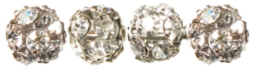- Cousin Jewelry Basics 4-Piece Metal Bead 8mm Beadelle, Silver/Clear