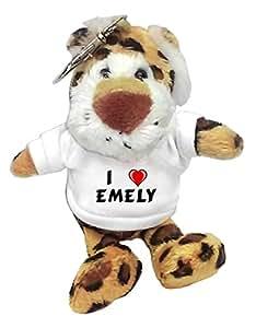 Leopardo de peluche (llavero) con Amo Emely en la camiseta (nombre de pila/apellido/apodo)