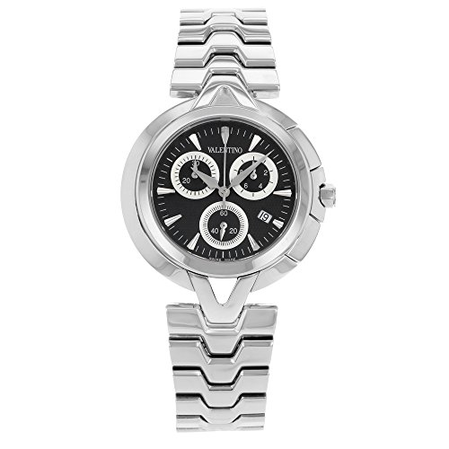 Valentino V-Valentino Chronograph Stainless Steel Mens Casual Watch Black Dial - Mens Watch Valentino