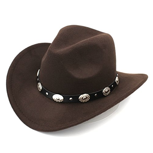 Elee Womem Men Wool Blend Western Cowboy Hat Wide Brim Cowgirl Jazz Cap Leather Band (Dark Brown)
