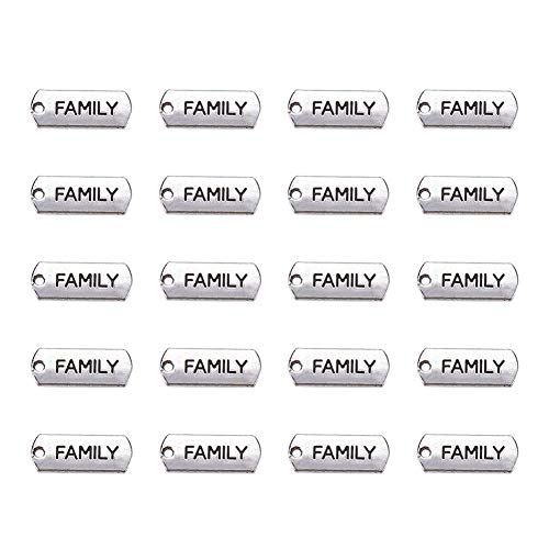 (Pandahall 20pcs Tibetan Antique Silver Rectangle with Word Family Pendants Cadmium Free & Lead Free Message Necklace Charms Tag Links )