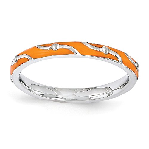 Best Designer Jewelry Sterling Silver Stackable Expressions Orange Enamel Ring