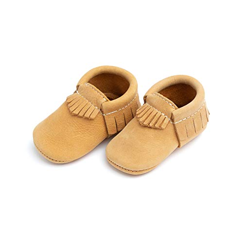 Freshly Picked - Soft Sole Leather Moccasins - Baby Girl Boy Shoes - Size 3 Beehive State Tan (American Women Got The Right To Vote In)