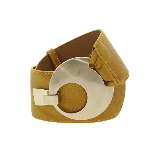 FASHIONGEN - VANESSA leatherette large belt - Light Camel, Small to Large / 27.50 to 37.40 in