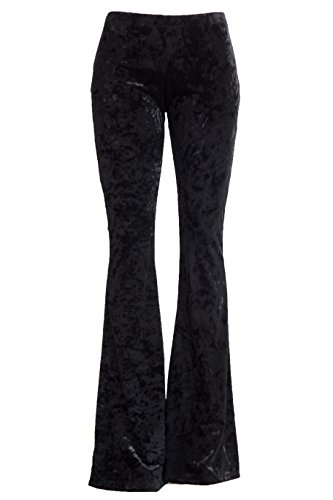 70s Outfits Women (Fashionomics Womens BOHO COMFY STRETCHY BELL BOTTOM FLARE PANTS (L, VELVET BLK))