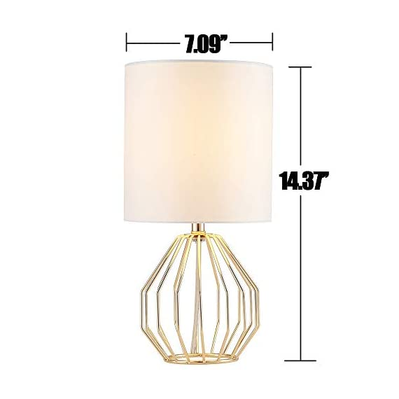 COTULIN Table Lamp,Gold Lamps for Bedroom,Modern Hollowed Out Base Small Table Lamp with White Fabric Shade for Living Room - Size:Height 14.37 inch,diameter 7.09 inch.Please note the size before purchasing. Input:AC 110V-120V,max 60W,E26 socket,fits LED CFL incandescent bulbs(bulb not included). High Quality:All of our products are produced in the standard factory,possessing long service life. - lamps, bedroom-decor, bedroom - 41SXiHIrV8L. SS570  -