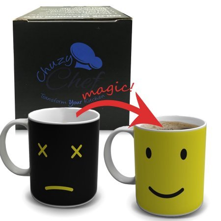 Heat Color Changing Mug Gift - 12 Oz Heat Sensitive Color and Smiley Face Morning Changing Drinkware Ceramic Coffee Tea Cup Black - Gift for Mom Friends Women & Men - Chuzy Chef Morning 12 Oz Coffee Mug