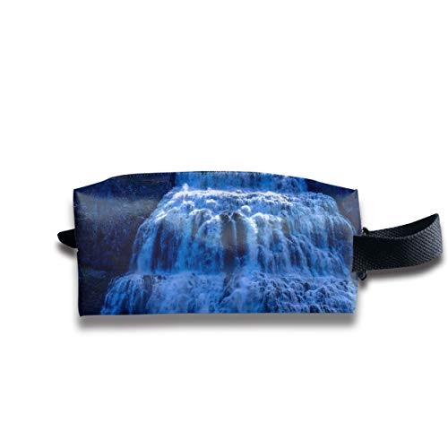 Waterfalls Leaf Copper (Blue Waterfall On Cliff Portable Pencil Bag Coin Purse Pouch Stationery Storage Organizer Case Cosmetic Makeup Brush Holder with Durable Zipper for Students Office)