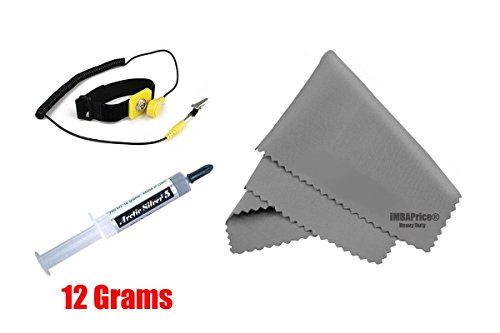 Arctic Silver AS5 - 12 (Installer Kit) - 12 Grams Extra Large Size with Anti-Static Wrist Band + Microfiber (7