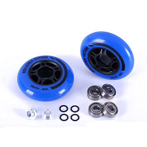 Rollerex 8-pack and 2-pack, VXT500 Inline Skate/Rollerblade Wheels (Multiple Size and Color Options Available) (Deep Sea Blue (2 wheels w/bearings, spacers and washers), 80mm) Hockey Bearings