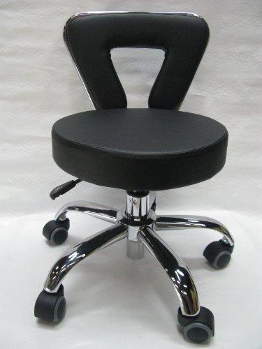 Spa Pedicure Chair Stool for Nail, Hair, Facial Technician (Short, Black)