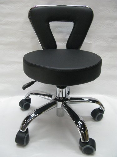 Spa Pedicure Chair Stool for Nail, Hair, Facial Technitian (Tall, Black)