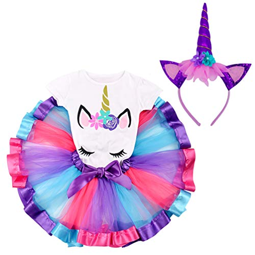 LYLKD Little Girls Unicorn Outfit Dress,Layered Rainbow Tutu Skirt,Unicorn T-Shirt and Unicorn Horn Headband. (Deep Purple, L,4-5 Years)]()