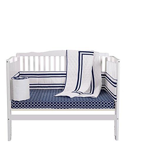 Baby Doll Bedding Soho Mini Crib/ Port-a-Crib Bedding Set with 100% cotton trellis design sheet, Navy
