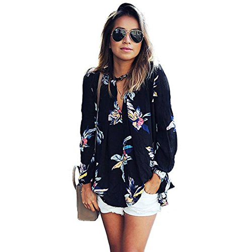 TOPUNDER Womens Floral Printing Loose Long Sleeve Chiffon T Shirt Blouse Tops (S, Black)