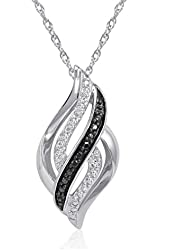 Sterling Silver Black and White Diamond Swirl Pendant Necklace on an 18 inch Chain