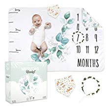 Eoki 2-In-1 XL Baby Monthly Milestone Blanket for Boy & Girl - 300gsm Thicker & Super-Fluffy Month Age Blankets for Newborns - Unisex Adorable Newborn Milestones Blanket for Pictures with Growth Chart