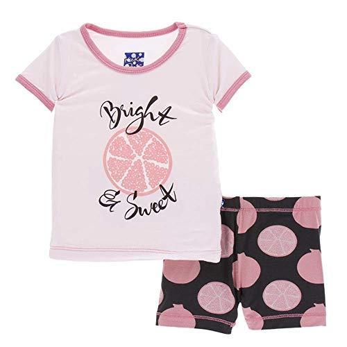 - Kickee Pants Little Girls Print Short Sleeve Pajama Set with Shorts - Zebra Pomegranate, 4T