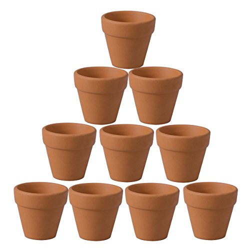 - OUNONA 10Pcs Terracotta Pot Clay Ceramic Pottery Planter Cactus Flower Pots Succulent Nursery Pots (4.5x4cm)