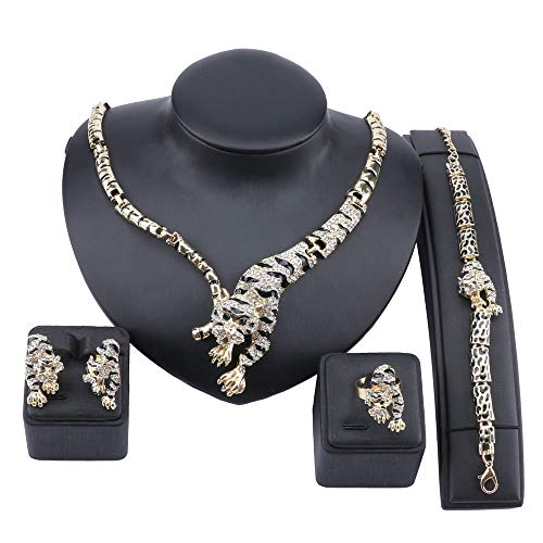 wang Cool Leopard Head Bracelet Earrings Necklace Ring Set 18k Gold Plated Rhinestone Chunky Curb Chain Costume African Jewelry Sets