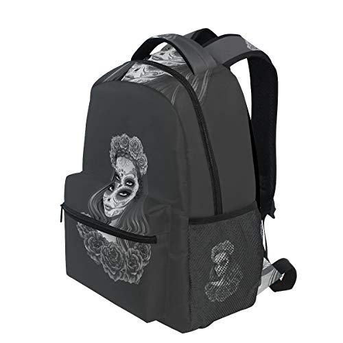KVMV Gothic Young Girl in Calavera Make Up Hairstyle with Roses Lightweight School Backpack Students College Bag Travel Hiking Camping Bags