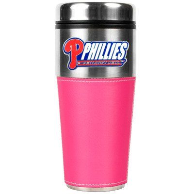 MLB Philadelphia Phillies 16-Ounce Stainless Steel Travel Tumbler with Pink Sleeve